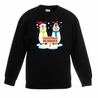 Kersttrui pinguin vriendjes zwart kinderen