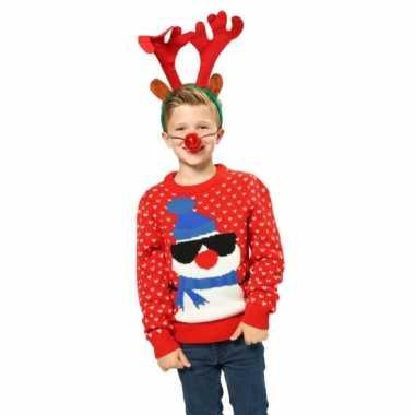 Kersttrui Voor Kinderen.Kersttrui Rood Sneeuwpop Kinderen Foutekersttrui Lol Nl