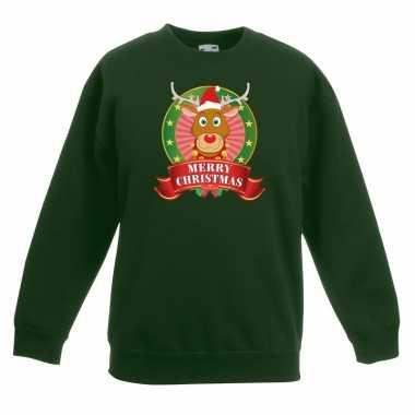 Kersttrui rudolf rendier groen jongens meisjes
