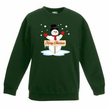 Kersttrui sneeuwpop groen kinderen