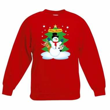 Kersttrui sneeuwpop vriendjes rood kinderen
