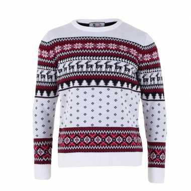 Kersttrui volwassenen nordic print wit