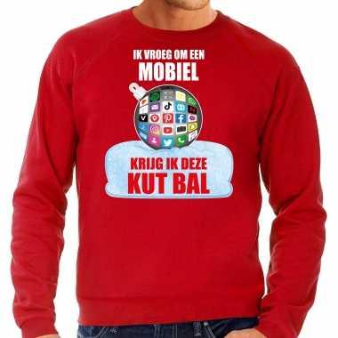 Kut kerstbal kersttrui / kerst outfit ik vroeg om een mobiel krijg ik deze kut bal rood heren