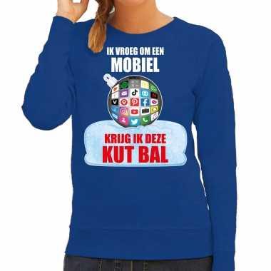 Kut kerstbal sweater / foute kersttrui ik vroeg om een mobiel krijg ik deze kut bal blauw dames