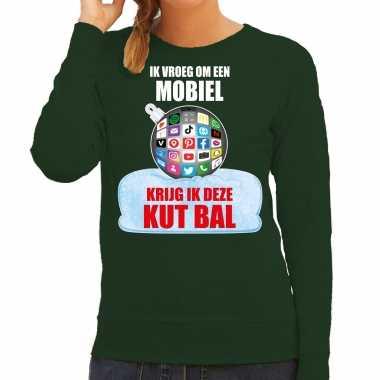 Kut kerstbal sweater / foute kersttrui ik vroeg om een mobiel krijg ik deze kut bal groen dames