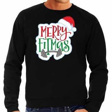 Merry fitmas kersttrui / outfit zwart heren