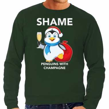 Pinguin kersttrui / outfit shame penguins with champagne groen heren