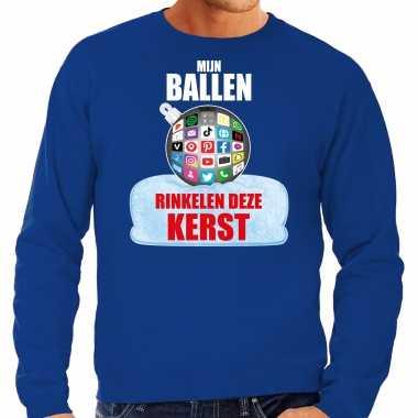 Rinkelende kerstbal sweater / kersttrui mijn ballen rinkelen blauw heren
