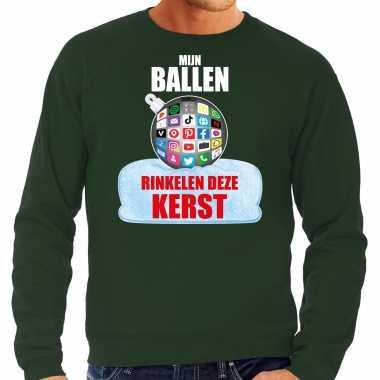 Rinkelende kerstbal sweater / kersttrui mijn ballen rinkelen groen heren
