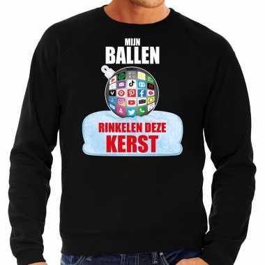 Rinkelende kerstbal sweater / kersttrui mijn ballen rinkelen zwart heren