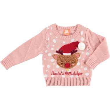 Roze baby kersttrui/foute kersttrui santas little helper