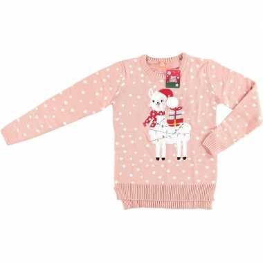 Roze dames kersttrui lama/alpaca