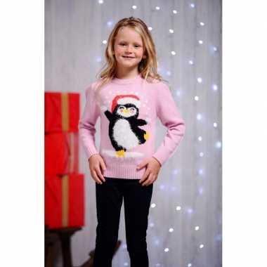 Roze kersttrui kinderen dansende pingu n