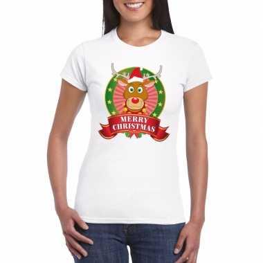 Rudolf kerst t-shirt wit merry christmas dames