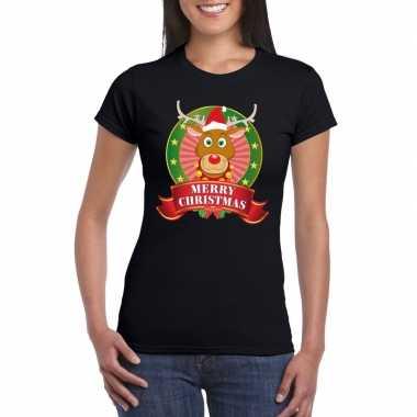 Rudolf kerst t shirt zwart merry christmas dames
