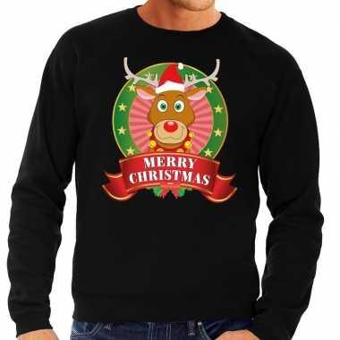 Rudolf kersttrui zwart merry christmas heren