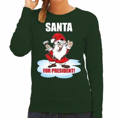 Santa for president kerst sweater / foute kersttrui groen dames