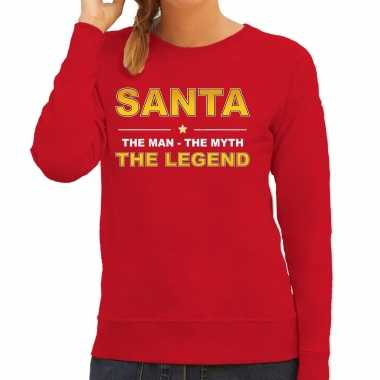 Santa kersttrui sweater / outfit / the man / the myth / the legend rood dames