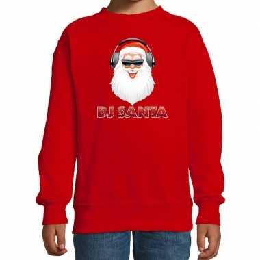 Stoere kersttrui / sweater dj santa rood kinderen