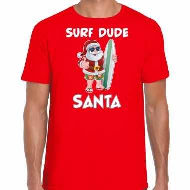 Surf dude santa fun kerstshirt / outfit rood heren
