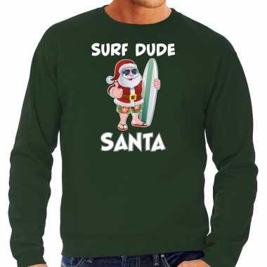 Surf dude santa fun kerstsweater / outfit groen heren