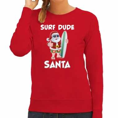 Surf dude santa fun kerstsweater / outfit rood dames