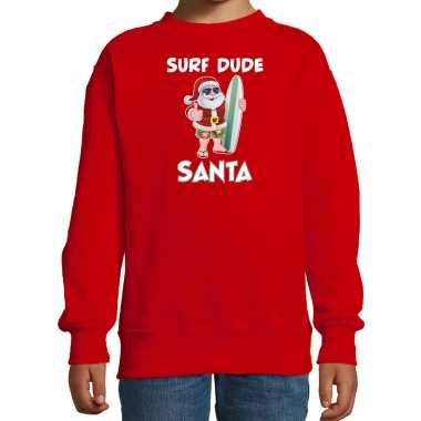 Surf dude santa fun kerstsweater / outfit rood kinderen