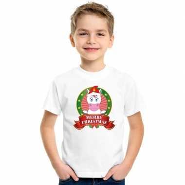Wit kerst t shirt kinderen een eenhoorn