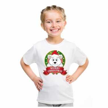 Wit kerst t shirt kinderen een ijsbeer