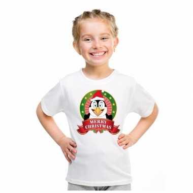 Wit kerst t shirt kinderen een pinguin