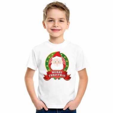 Wit kerst t-shirt kinderen kerstman print