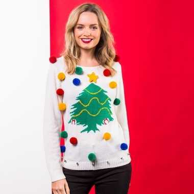 Witte kerst trui 3d kerstboom dames
