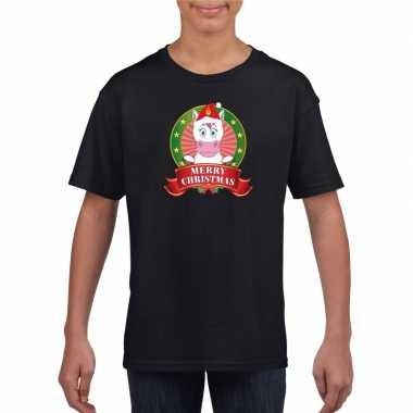 Zwart kerst t shirt kinderen een eenhoorn