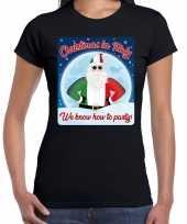 Fout italie kerst shirt christmas italy zwart dames