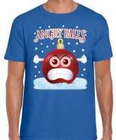 Fout kerst shirt angry balls blauw heren
