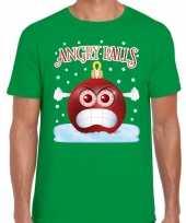 Fout kerst shirt angry balls groen heren