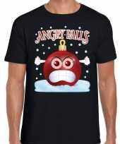 Fout kerst shirt angry balls zwart heren