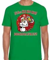 Fout kerst shirt bier drinkende santa ho ho ho groen heren