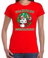 Fout kerst shirt bier drinkende santa rood dames