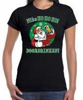 Fout kerst shirt bier drinkende santa zwart dames
