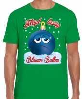 Fout kerst shirt blauwe ballen groen heren