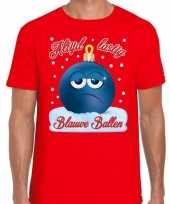 Fout kerst shirt blauwe ballen rood heren