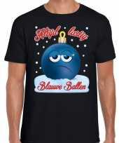 Fout kerst shirt blauwe ballen zwart heren