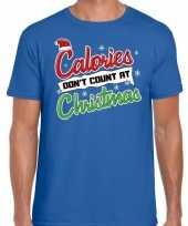 Fout kerst-shirt christmas calories blauw heren
