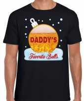Fout kerst shirt daddy his favorite balls bier zwart heren