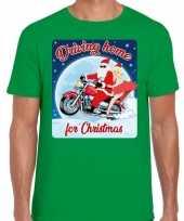 Fout kerst shirt driving home motorliefhebber s groen heren