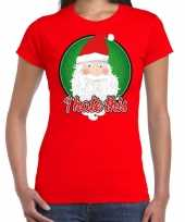 Fout kerst shirt i hate this rood dames