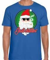Fout kerst shirt just chillin blauw heren
