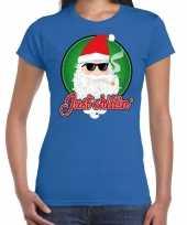 Fout kerst shirt just chillin stoere santa blauw dames