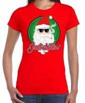 Fout kerst shirt just chillin stoere santa rood dames